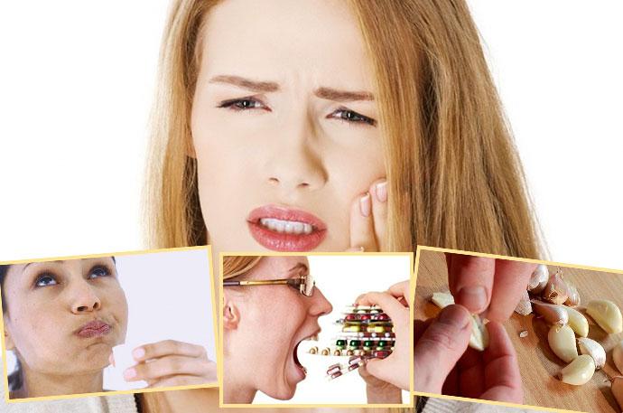 Болит зуб, прием таблекто, полоскаание или народные средства с чесноком