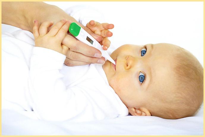 Измерение температуры у ребенка при росте зубов