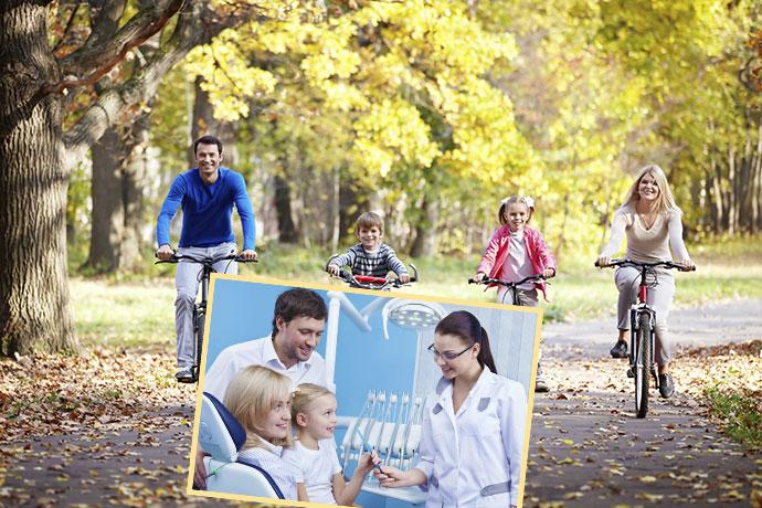 прогулка семьи на велосипедах и прием у стомотолога