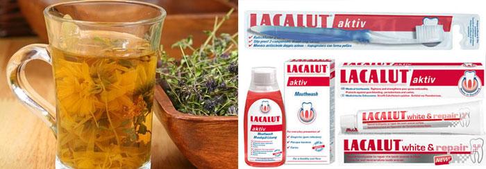 твары из трав шалфея, зубные средства Lacalut