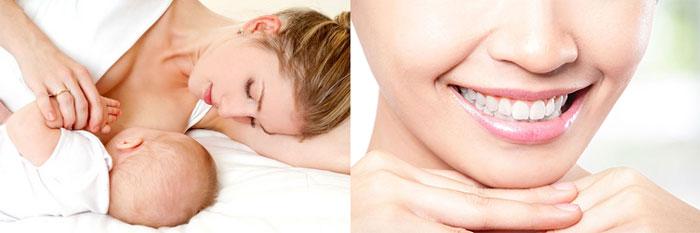 Грудное кормление и белоснежные зубы в улыбке