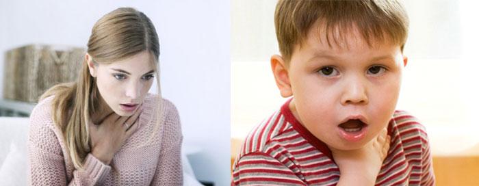 женщина и ребенок в приступе удушья
