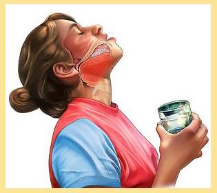 Схема полоскания рта и горла